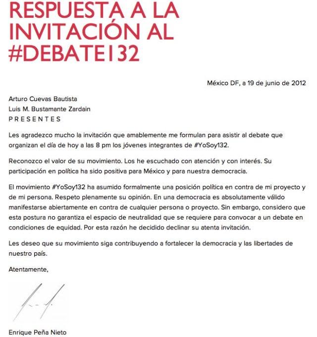 Carta de Enrique Peña Nieto declinando invitación al debate.